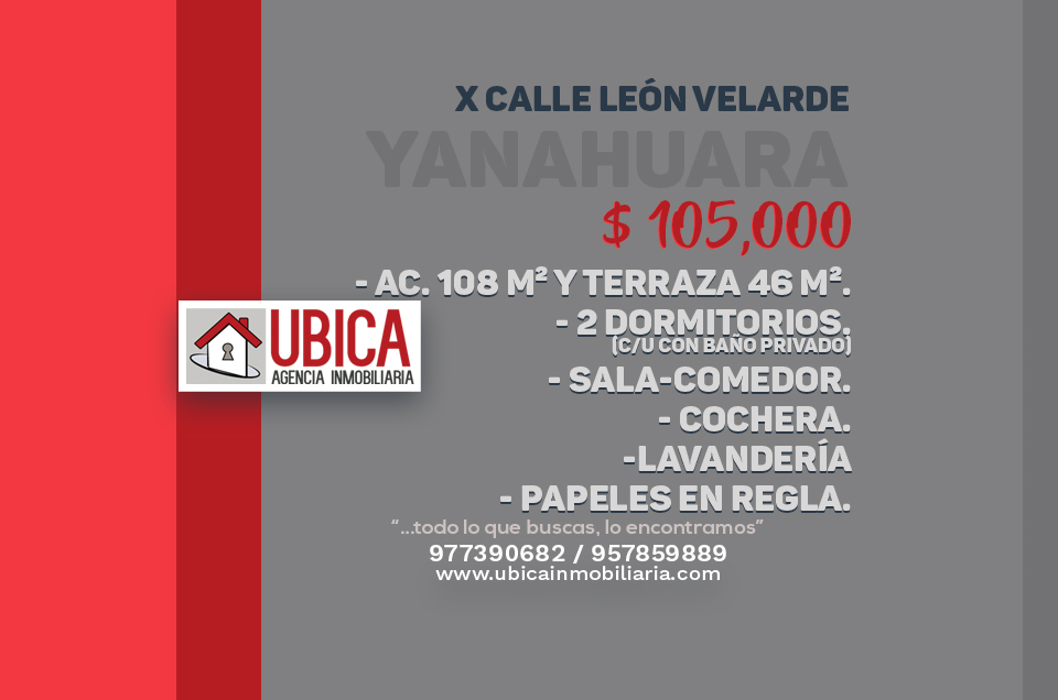 Duplex con terraza     OCASIÓN! Yanahuara